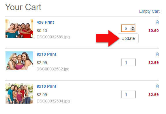 Updating Quantities in your Shopping Cart on MailPix