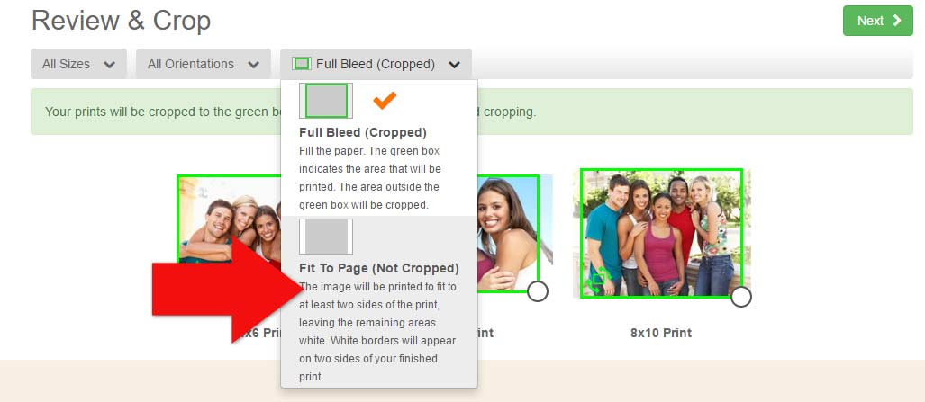 Order prints with no cropping on MailPix with Fit to Page prints