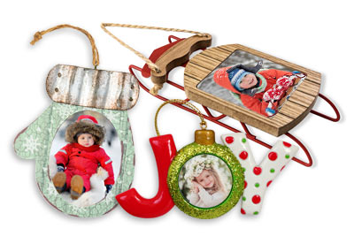 Create custom holiday photo ornaments using your own pictures