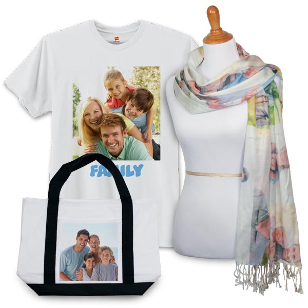 Add interest to your outfit with our personalized photo clothing and accessories.