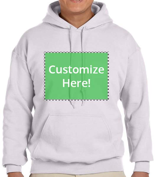 Personalized Ash Grey Hooded Sweatshirt