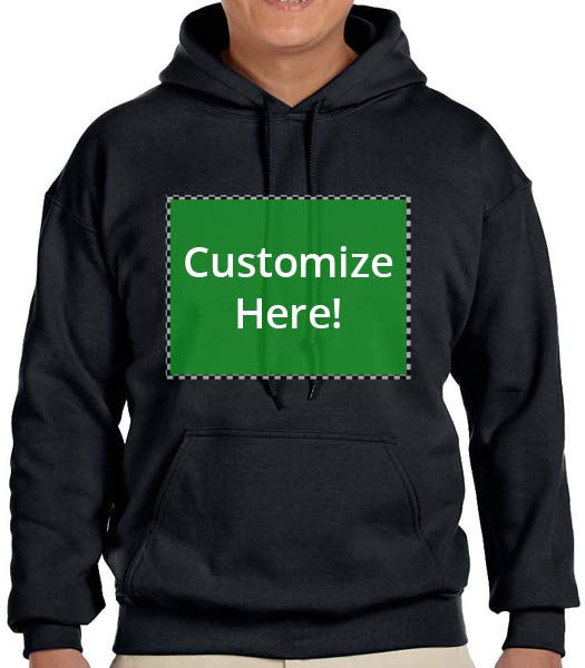 Personalized Black Hooded Sweatshirt
