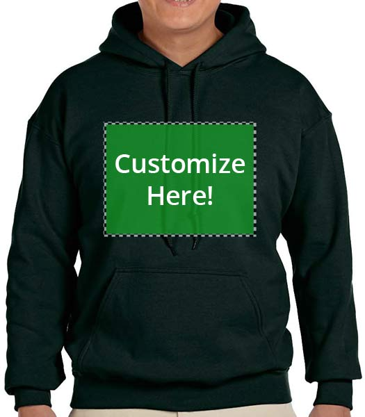 Personalized Deep Forest Color Hooded Sweatshirt