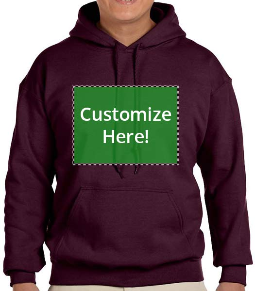 Personalized Maroon Hooded Sweatshirt