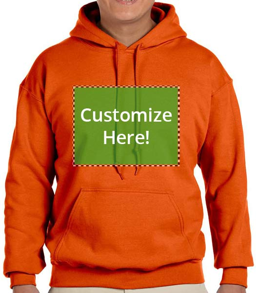 Personalized Orange Color Hooded Sweatshirt