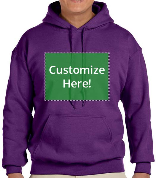 Personalized Purple Color Hooded Sweatshirt