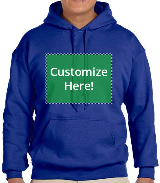 Personalized Royal Blue Hooded Sweatshirt