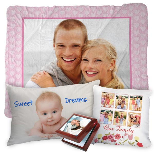 Decorate your home with photo gifts, blankets, pillows and more decor.