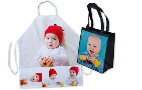 From aprons to grocery bags, Mailpix allows you to add photos to your own kitchen décor.