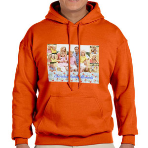 Custom Printed Orange Hooded Sweatshirt Selection