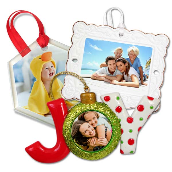 Spice up your holiday décor this year with our variety of photo Christmas ornaments.