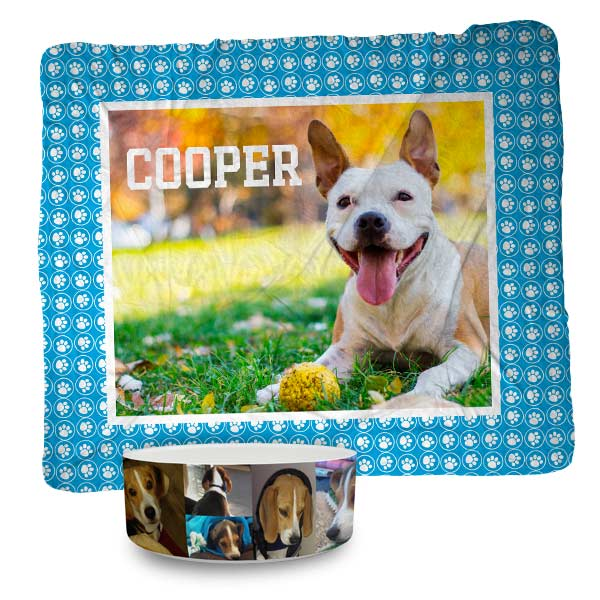 Make the perfect pet bed or pet bowl with your own photos and choose from a variety of templates.