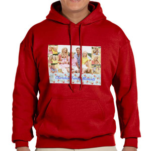Custom Printed Red Hooded Sweatshirt Selection