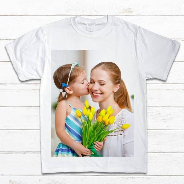 Custom design a T-shirt with your favorite photos for a unique addition to your daily wardrobe.