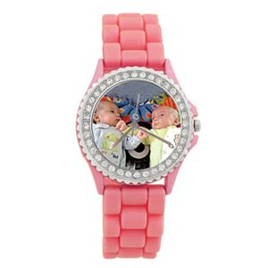 Custom Photo Pink Silicone Watch