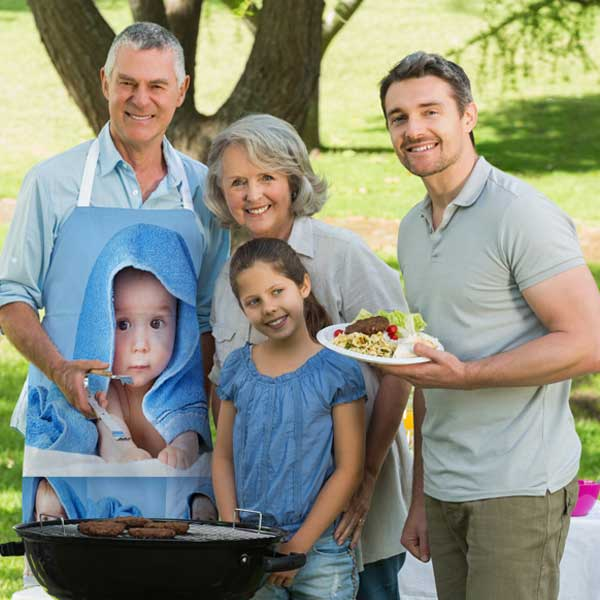 Work the Grill with a custom printed photo apron to protect your clothing great for dad or grandpa
