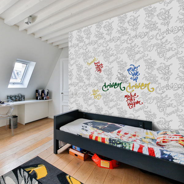 Have fun with your kids room and let them color the walls with wallpaper