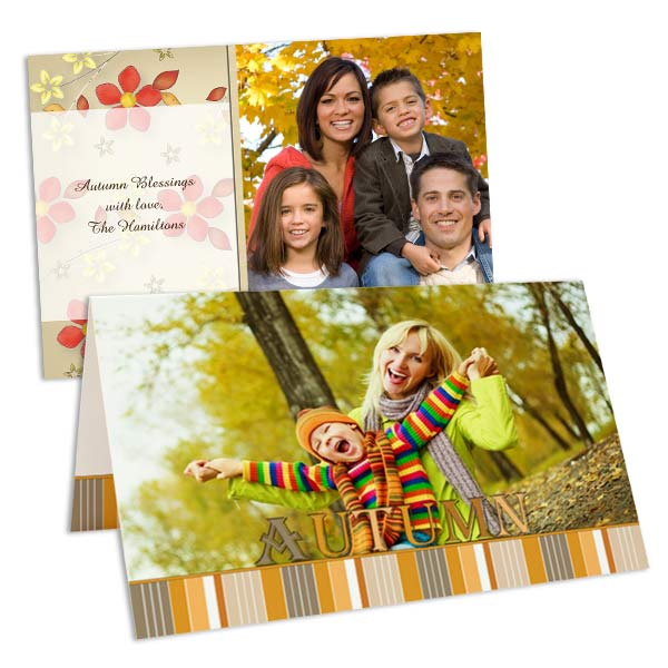 Choose from a variety of templates and add your own photo for the ultimate fall greeting.