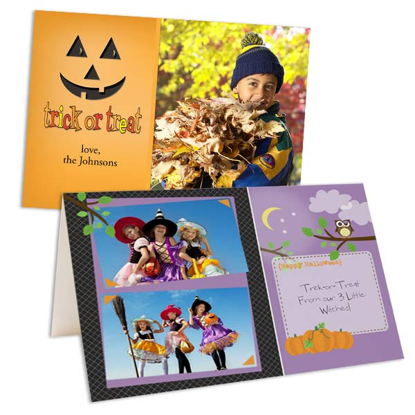 Add a unique twist to your Halloween greeting with our customized photo cards and invitations.
