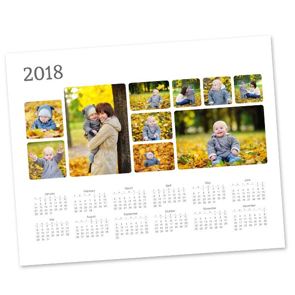 Single page photo calendars for your office or school with photo collage layouts for 2018