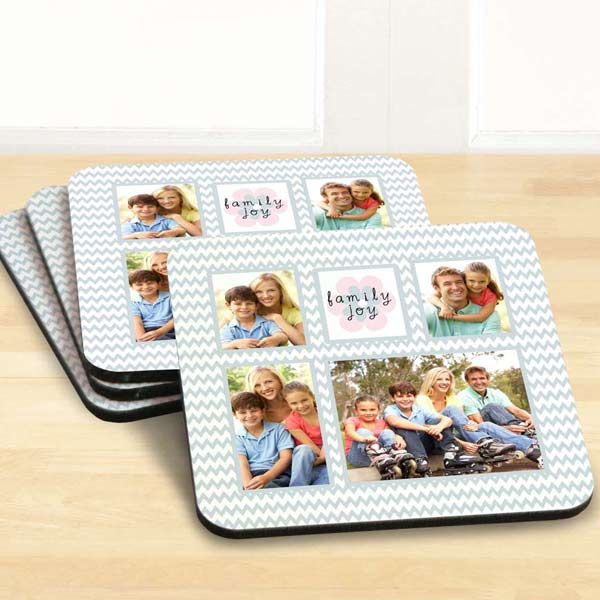 Create custom photo coasters with artistic templates.
