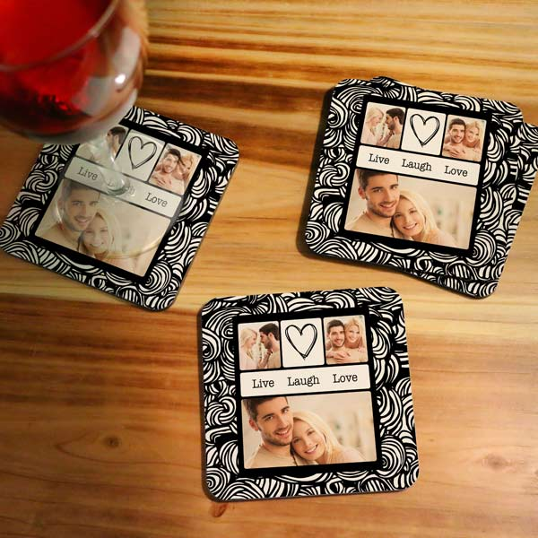 Personalized Designer photo coasters with Live Laugh Love Photo Art