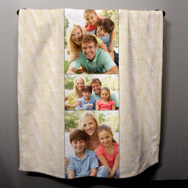 Personalized photo towel with family photos hanging in a bathroom.