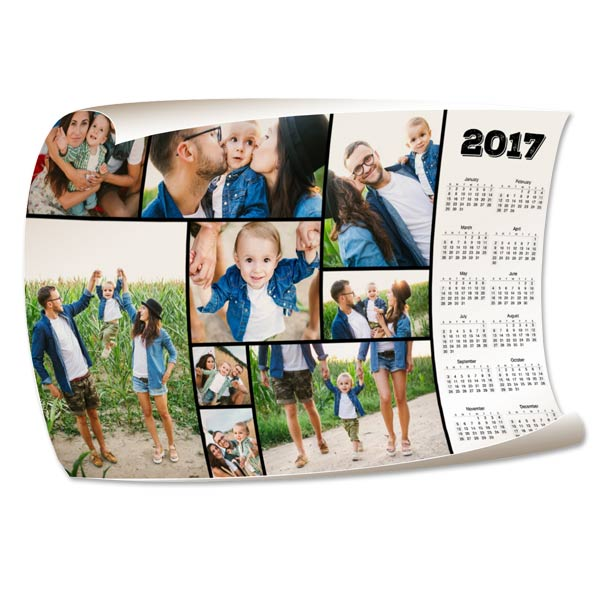 Customize your own 2017 calendar by adding your own photos to our 12x18 Calendar Wall Poster.