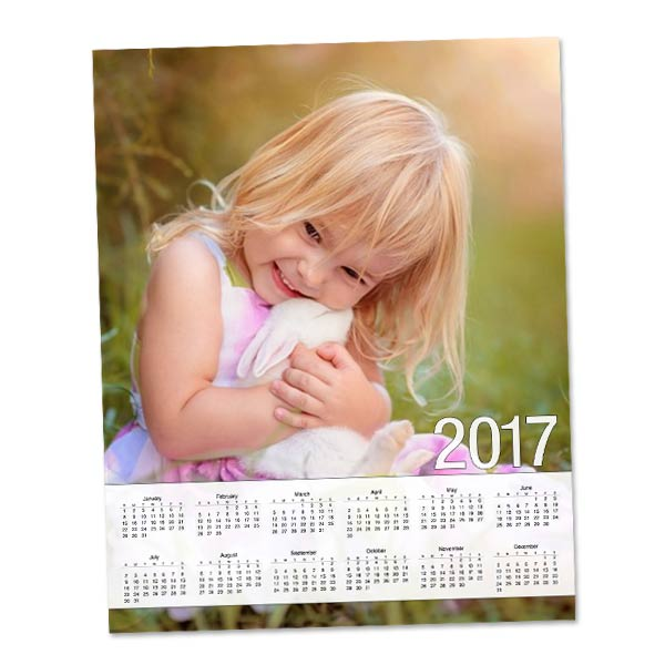 Customize your own 2017 single page wall calendar with a special photo.