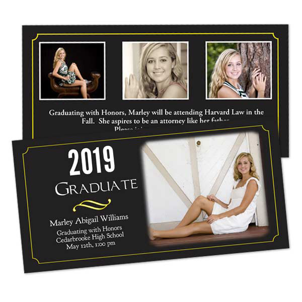 Custom graduation invitations with photos and information printed on both sites