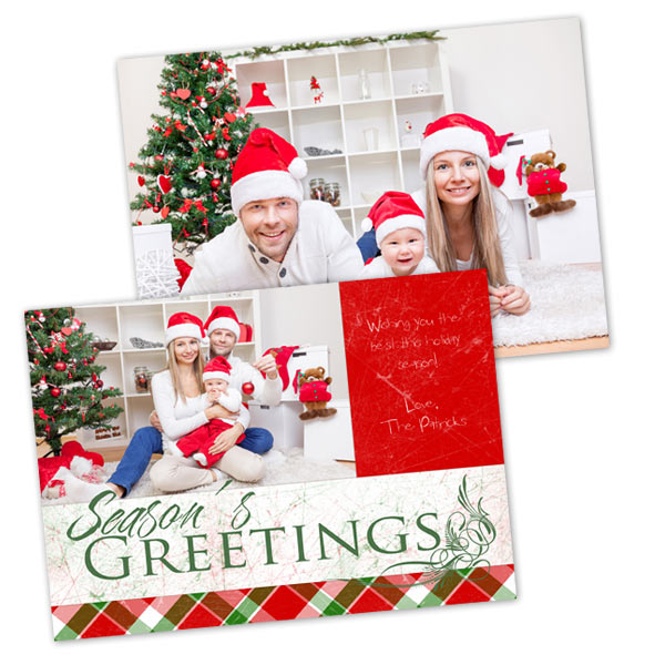 Customize the front and back of your Christmas card with our double sided stock cards