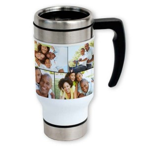 Take you favorite photos on-the-go with our customized photo collage travel mugs.