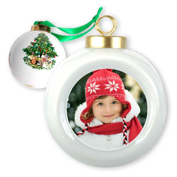 Personalized christmas ornament photo ball ornament for Photo christmas decorations
