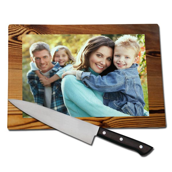 Design your glass cutting board using your favorite photos and text for a personalized look.
