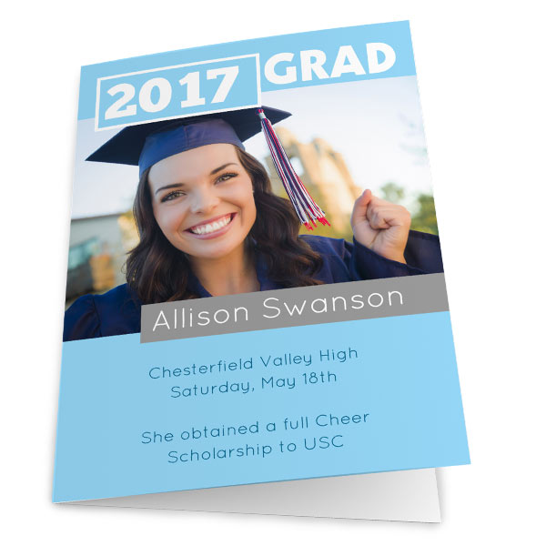 High Quality 5x7 folding graduation card printed on heavy weight card stock