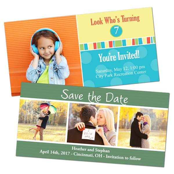 Classic 4x8 glossy photo cards for Save the Date and Birthday Announcements