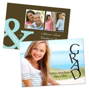Photo glossy cards and announcements 5x7 size for Graduations and weddings