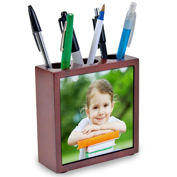 Add interest to your office decor with our custom photo pencil holder set.