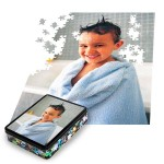 Each Photo Puzzle includes a tin container with image.