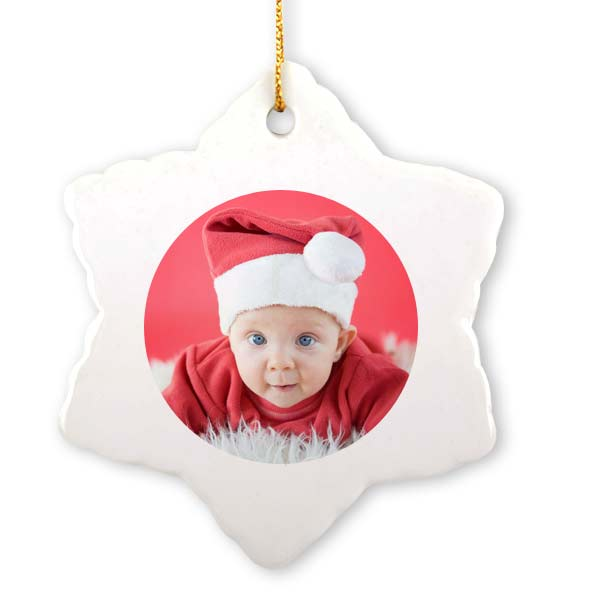 For a classic look, create your own customized photo snowflake ornament.