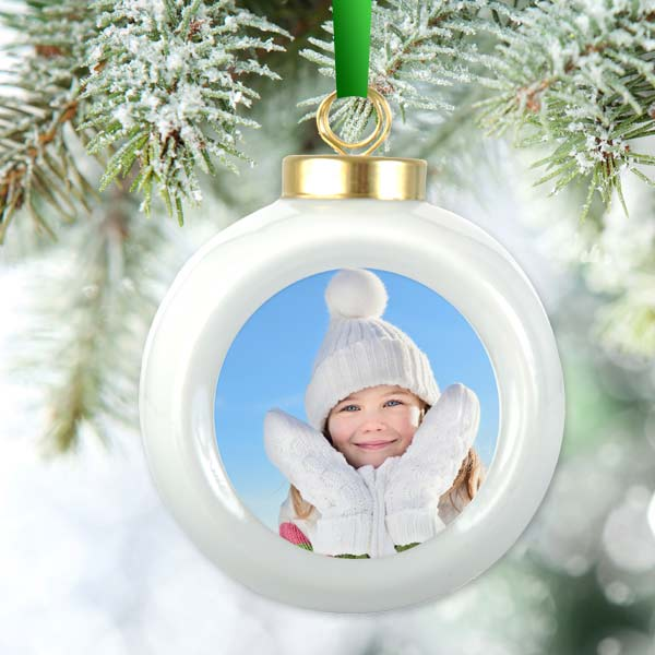 Showcase a favorite photo in style with our custom printed Christmas ball ornament