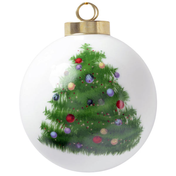 Remember the year with a holiday ball photo ornament with Christmas tree art on the back