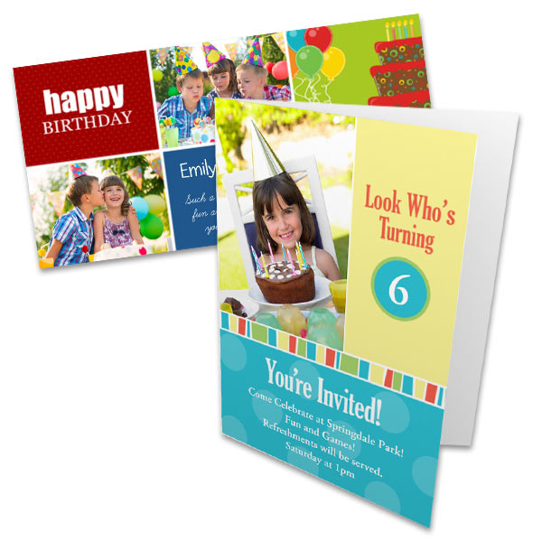 Incorporate your own photos with any birthday greeting and design the perfect birthday card.