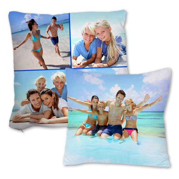 Brighten up your couch or favorite chair and customize a burlap pillow with your own photos.