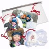 Flat Double Sided ornaments with Envelopes you can send to loved ones for the Holiday