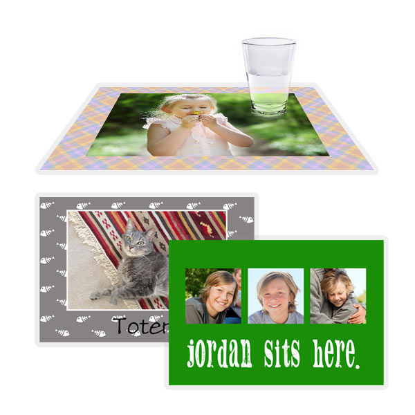 Creatively display a collage of photos on your kitchen table with our custom printed laminated placemats.