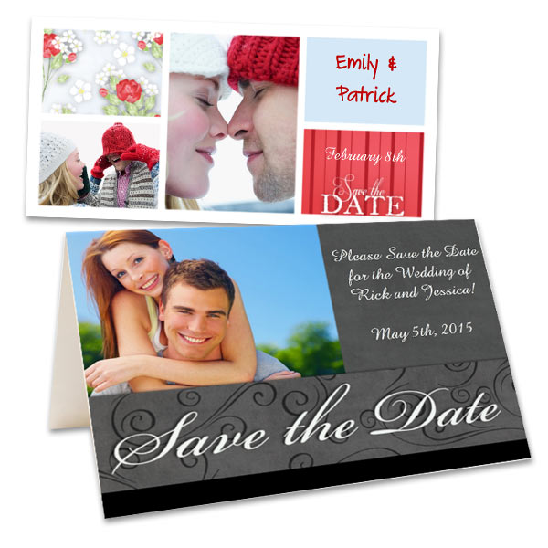 Use your own text and photos to create the ultimate save the date photo card.