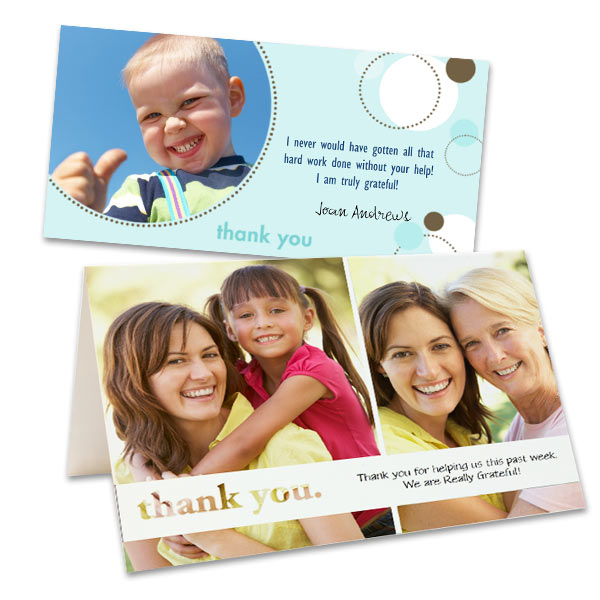 MailPix offers cute thank you card template for all occasions.