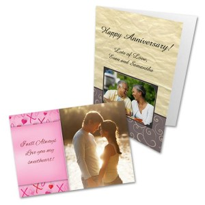 Commemorate any anniversary by designing a customized anniversary card with your own photos.