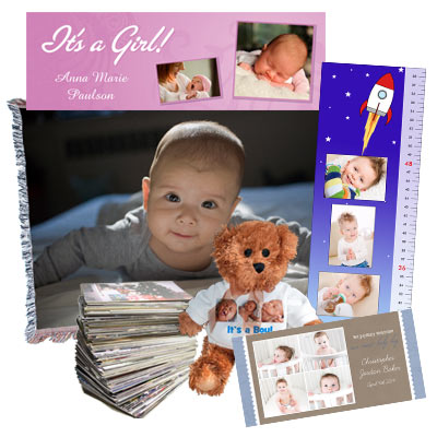 Create a new baby album, baby announcement and much more using your favorite baby photos.